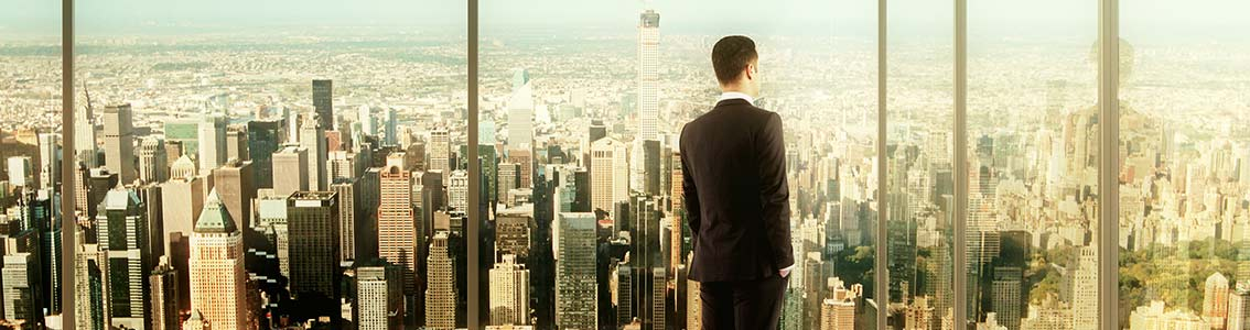 Man looking at the view from top of skyscrapper